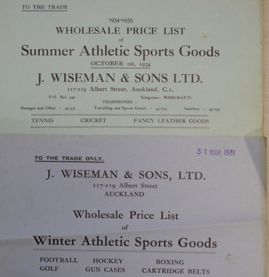 Price list, W J R McCallum, Saddle and Harness Maker, Owaka; J Wiseman & Sons, Ltd; 1931-1934; CT02.4069
