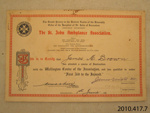 Certificate of achievement [James Macalister Brown]; St John Ambulance Association; 1941; 2010.417.7.5