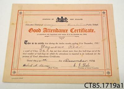 Certificate [Seymour Read]; [?]; 1926; CT85.1719a1