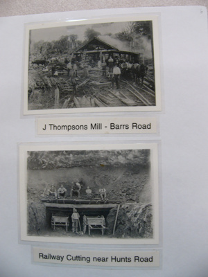 Photograph - J Thompson's Mill, Barrs Road and Railway cutting near Hunt Road. Groups of men in both photos.; -; CT08.4826.A6