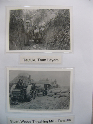 Photograph - Tautuku tramway layers in a cutting - Stuart Webb's thrashing mill at Tahatika.; -; CT08.4826.A9