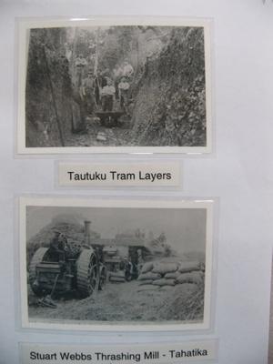 Photograph - Tautuku tramway layers in a cutting - Stuart Webb's thrashing mill at Tahatika.; -; CT08.4826.A9
