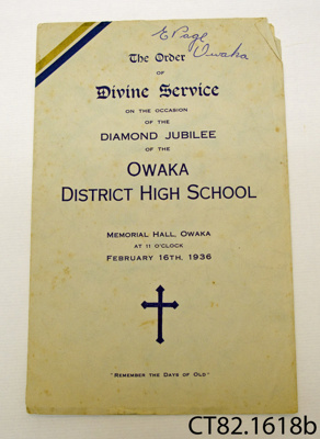 Booklet [ODHS Diamond Jubilee]; [?]; 1936; CT82.1618b
