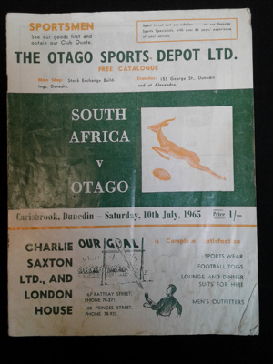 Rugby Programme, Otago v South Africa, 10 July 1965; Otago Daily Times Print; 10 July, 1965; 0000.0685
