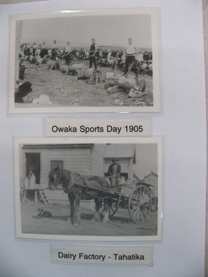 Photograph - Owaka Sports Day 1905, men ready for wood chopping - Man on horse and cart outside Tahatika dairy factory.; -; CT08.4826.A7