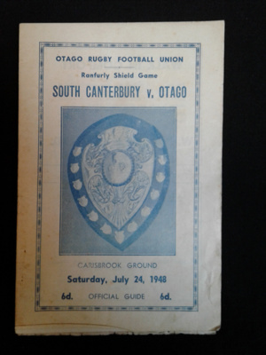 Rugby Programme, South Canterbury v Otago, July 24 1948; Otago Daily Times and Witness Newspapers Co Ltd; July 24 1948; 0000.0687