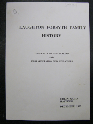 Laughton-Forsyth Family History, by Colin Nairn; Colin Nairn; 1992; 2010.135