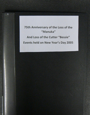 """75th Commemoration of the Wreck of the """"Manuka"""", Folder of events, 2005.; Catlins Historical Society; 21.04.2020; 0000.0213"""