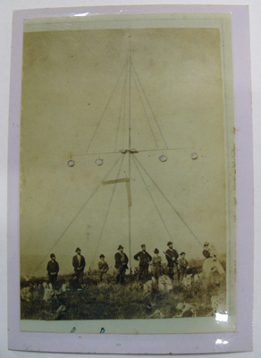 Photograph - Group of men at Signal Pole at Owaka Heads (possibly - photo unnamed); -; CT08.4826.A5