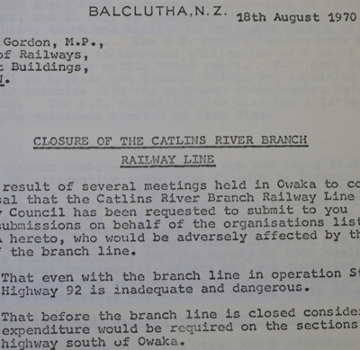 Correspondence, Closure of the Catlins River Branch Railway Line; Whiteside, R E (Mr, Chairman, Clutha County Council); 18.08.1970; CT85.1807h