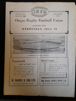 Rugby Programme, Metropolitan v Otago Sub-Unions, July 18 1951; Otago Daily Times and Witness Newspapers Co. Ltd; 1951; 0000.0684