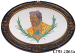 Picture, embroidered [Maori man]; McLennan, Anna; [?]; CT95.2063a