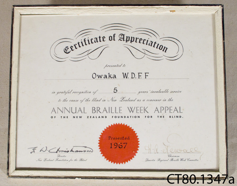 Certificate of appreciation [Owaka Women\'s Division Federated ...