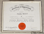 Certificate of appreciation [Owaka Women's Division Federated Farmers]; New Zealand Foundation for the Blind; 1967; CT80.1347a