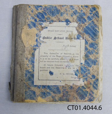 Administrative Record, Otago Education Board, Public School Records, Purekireki School; Otago Education Board; c1890s; CT01.4044.6