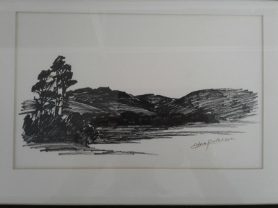 Framed drawing (black and white) by Edna Peterson of a landscape, hills and trees; Peterson, Edna (Mrs, nee Cooper); 0000.0761
