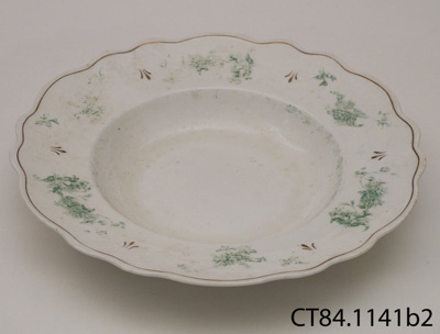 Plate, soup; W H Grindley and Co; 1914-1925; CT84.1141b2