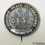 Badge, commemorative; Otago Early Settlers' Association; 1919; CT78.842b