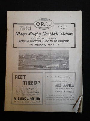 Rugby Programme, Australian Universities v. New Zealand Universities, May 21 1949; ORFU; May 21, 1949; 0000.0690