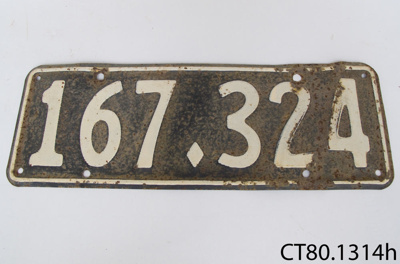 Plate, vehicle licence; CT80.1314h