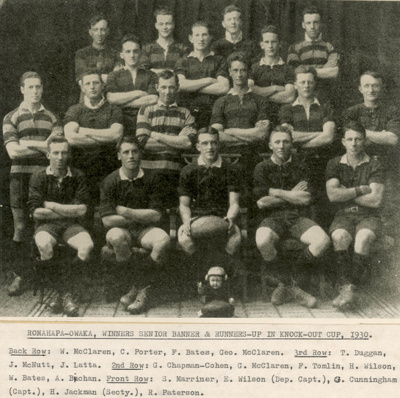 Photograph [Romahapa-Owaka Rugby Team, 1930]; [?]; 1930; CT96.2076.3