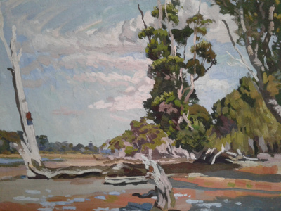 """Painting """"Windy Day, Catlins River""""; Richdale, Ian; 0000.0873"""