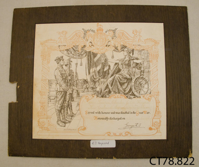 Certificate of Honourable Discharge [Charles J Hayward]; Partridge, Bernard; 1916; CT78.822