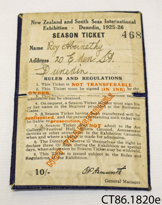 Ticket, season [New Zealand and South Seas Exhibition]; New Zealand and South Seas International Exhibition; 1925; CT86.1820e