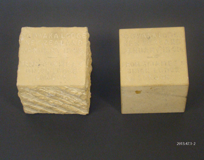 Blocks, stone [Owaka Lodge 1949]; [?]; c1949; 2013.47