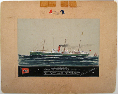 """Painting [SS """"Warrimoo""""]; Andrews, Archibald; 1900s; CT82.1465d"""