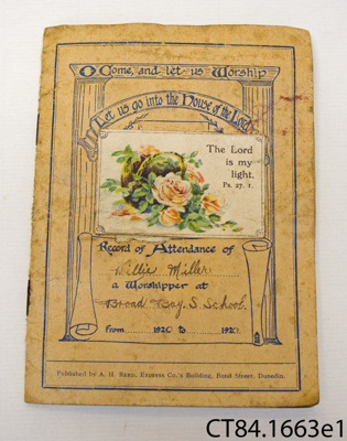 Booklet [Sunday School record of attendance]; A H Reed; 1920; CT84.1663e1
