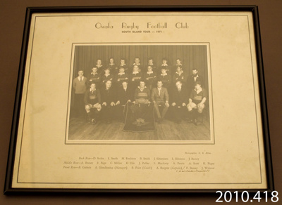 Photograph [Owaka Football Rugby Club]; Milne, G R; 1971; 2010.418
