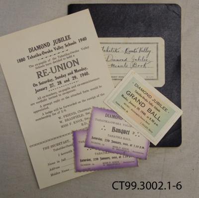 Minute Book, Tahatika-Owaka Valley Schools Diamond Jubilee, 1940; Tahatika-Owaka Valley Schools Diamond Jubilee Committee; 1939-1940; CT99.3002 .1-6