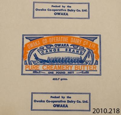 Paper, butter; Owaka Co-Operative Dairy Co Ltd; 1923-1973; CT82.1111a