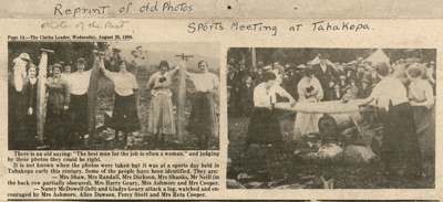 Newspaper clipping [Tahakopa Sports]; [?]; c1920s; CT80.1344b