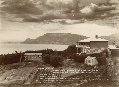 """Photograph [""""Albion House"""", Mrs Ottaway's Boarding House, Kaka Point]; Randall, George T; c1900; CT79.1290d"""