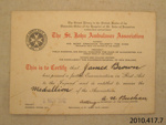 Certificate of achievement [James Macalister Brown]; St John Ambulance Association; 1942; 2010.417.7.4