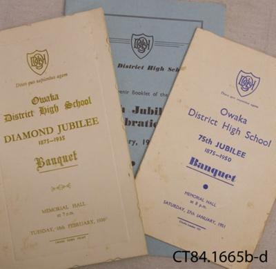 Ephemera, Owaka District High School Diamond Jubilee and 75th Jubilee Celebrations; Owaka District High School; 1935-1951; CT84.1165 b, c, d