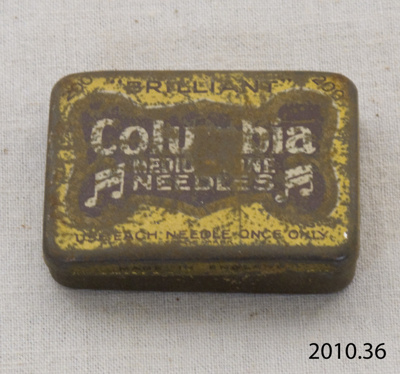 Tin, gramophone needle; Columbia; [?]; 2010.36