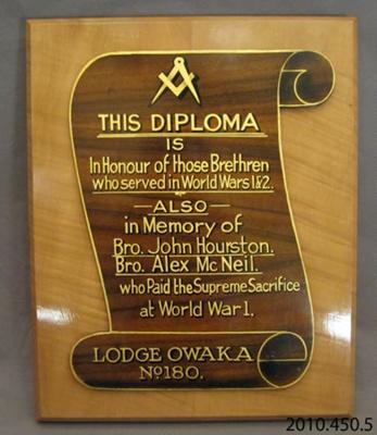 Plaque [Lodge Owaka 180]; [?]; 20th century; 2010.450.5