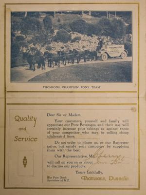 Advertising Card, Thomsons Pure Lemonade advertising postcard; CT82.1619e