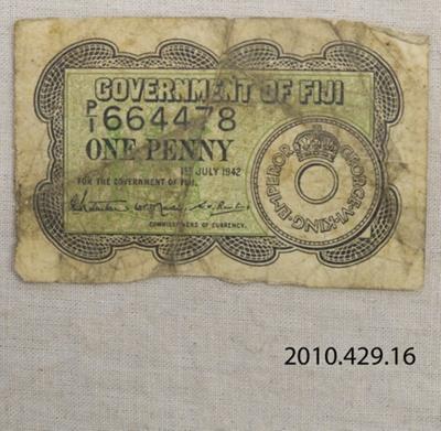 Paper money, Fiji One Penny; Government of Fiji; 1942; 2010.429.16