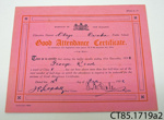 Certificate [George Read]; [?]; 1932; CT85.1719a2