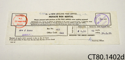 Invoice [Private Box Rental]; New Zealand Post Office; 1969; CT80.1402d