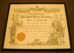 Certificate of achievement [Isaac Dryden]; Federation of New Zealand Justices' Associations Incorporated; 1960; 2010.422