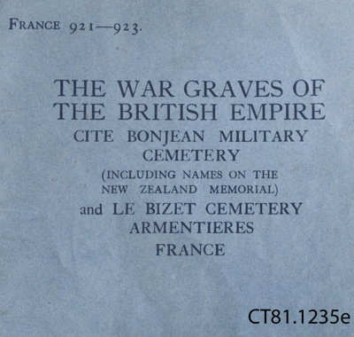 Book, The War Graves of The British Empire, Cite  Bonjean Military Cemetery, 1929; H. M. Stationery Office Press; 1929; CT81.1235e