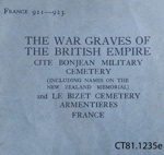 Book, The War Graves of The British Empire, Cite  Bonjean Military Cemetery, 1929; Imperial War Graves Commission; 1929; CT81.1235e