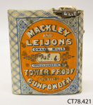 Container, gunpowder ; Mackley and Leijon's Owaka Mills; 1880-1885; CT78.421