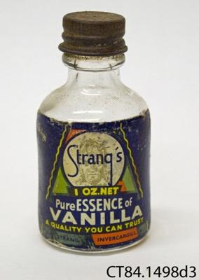 Bottle, vanilla essence; David Strang Ltd; [?]; CT84.1498d3