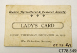 Card, ladies [Owaka A&P Society]; Owaka Agricultural and Pastoral Society; 1925; CT78.549